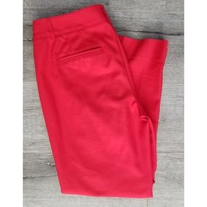 WHBM Red Side-Zip Slim Ankle Pants